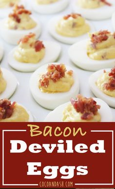 These Deviled Eggs with Bacon are unlike any other deviled egg. They are so addicting! They have a combination of salty bacon and a slight hint of something sweet that always has people asking what in the world is in them. Appetizers For Party, Appetizer Recipes, Party Recipes, Party Snacks, Drink Recipes, Sweets Recipes, Holiday Recipes, Bacon Deviled Eggs, Something Sweet
