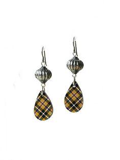 cornish tartan earrings, tartan earrings, cornish plaid, plaid earrings, tartan teardrop, DURGAN DROPS, hypoallergenic titanium ear wires