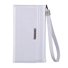 "Nillkin Bazaar Series Wallet Style Stand PC PU Leather. Strap Design make you easy to carry. Case Cover with Card Slot and Strap for iPhone 6 Plus 5.5""-White. Slim and Light weight, with hand strap for easy holding of the case. 