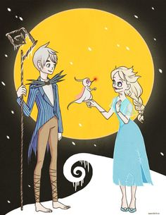 Jelsa Nightmare Before Christmas. It even has Baby Tooth as Zero!! How cute is that?!
