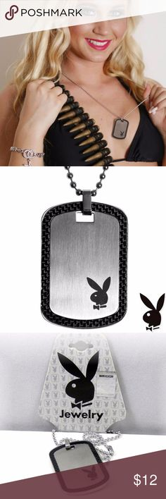 Playboy Necklace Dog Tag Stainless Steel Dogtag 24 Authentic Playboy Necklace has a Dog Tag pendant made of quality Titan Stainless Steel enhanced with Black Carbon Fiber and the Playboy Bunny Logo. It has the traditional ball chain barrel clasp. So if you want to make it shorter than 24 inches long, you can do so by cutting off the opposing end until you get the length that is appropriate for you. Includes Playboy hanging retail tag with hologram sticker proving authenticity. Genuine…