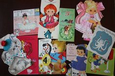 Vintage Antique Granddaughter Girl Child Birthday Cards 1960s Lot of 10
