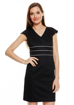 ideeli | MARC NEW YORK Petite Cap Sleeve V-Neck Sheath Dress