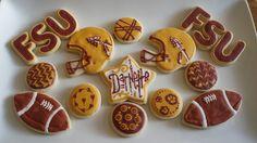 FSU cookies - must make next season! Alabama College Football, Ohio State Football, Oklahoma Sooners, Seminole Football, Football Tailgate, Football Season, American Football, Florida State University, Florida State Seminoles