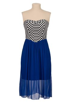 Striped Top Chiffon Mid length tube Dress (original price, $44) available at #Maurices