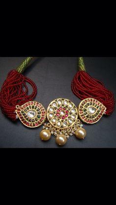 India Jewelry, Gold Jewellery, Beaded Jewelry, Designer Jewelry, Jewelry Design, Gold Choker, Trendy Jewelry, Chokers, Design Ideas