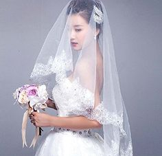 Aokaixin 1 Layer Bridal Veil Lace Applique Edge Wedding Veil With Beaded Whiteivory Accessory Ivory * Details can be found by clicking on the image.-It is an affiliate link to Amazon. #BridalVeils
