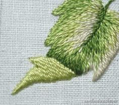 TUTORIAL...LEAF WITH A TURNOVER IN Long & Short Stitch Shading Lessons on www.needlenthread.com