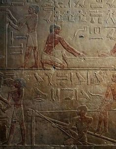 Painted relief of a workshop of sculptors and glass blowers. Mastaba of Ty,Saqqara,Old Kingdom.