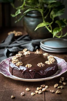Moist Chocolate Walnut Cake (low carb chocolate walnut cake)
