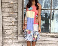 Oriah xsmall vestido Eco-artístico-pequeño ropa-Upcycled ropa-pueblo libre inspirado por amor mayor ropa hecha a mano