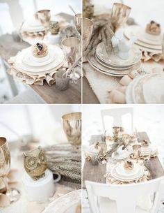 Soft taupes, creams, ivory and camel colors adorn this beautiful table with rolled paper chargers. by jillian