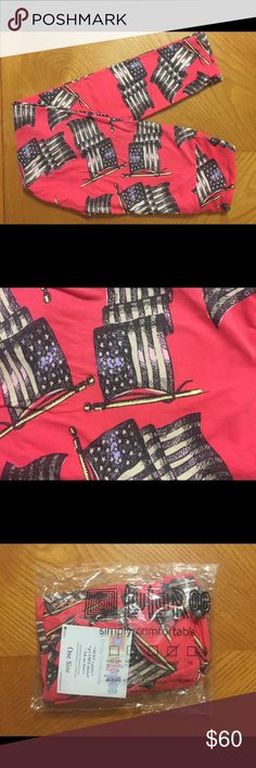 LuLaRoe OS Leggings Brand spankin' New LuLaRoe OS Leggings - Get yer Merica here! These are hot pink with beautiful American flags waiving in the wind of freedom. You'll never wear pants again after trying these buttery soft, patriotic beauties on. Like ever. These were handled with the utmost care (because LLR is life).  NWT. Comes from pet loving, smoke free home. LuLaRoe Pants Leggings