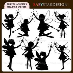 Fairy Silhouettes Digital Clipart INSTANT DOWNLOAD