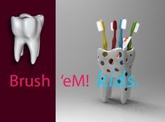 The molar teeth-shaped Brush'eM ! Kids is a funny toothbrush-holder with holes, which in it's own little way might contribute to the dental care awareness of kids.  #3dprint #shapeways   Available at Shapeways