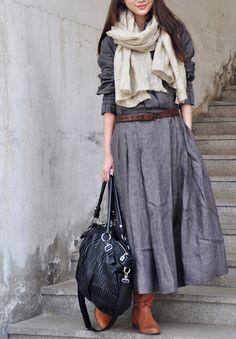 Linnen Jurk Linnen Lange Trench Coat Dress in door camelliatune