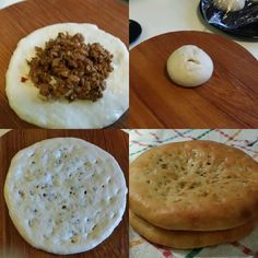 QEEMA NAAN 3 cups - all purpose flour 1 tsp - salt 1.5 tsp- instant yeast 2 tbsp - oil 4 tbsp- yogurt 1 tbsp- honey 1 tbsp- powdered milk (optional) 1/4 cup- warm milk (optional) 1-Mix all ingredients and knead a very soft dough with warm water and leave it to rise for 1-3 hrs . 2-Make 4 equal size balls . Flatten each ball in a small circle with the help of your hand using little oil. 3-Fill with prepared qeema filling and close it making sure filling is secured. Flatten this into a naan…