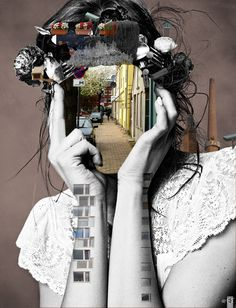 Collage. This would be really cool as like a eye into the soul thing... Could be drawn