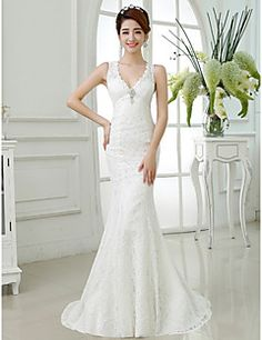 Trumpet/Mermaid V-neck Lace Floor-length Wedding Dress. Get unbelievable discounts up to 70% Off at Light in the box using Coupons.
