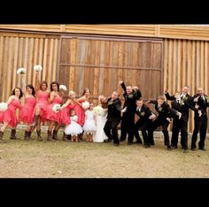 Wedding party. Rustic country wedding