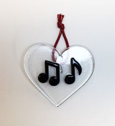 Music Notes Fused Glass Sun Catcher Ornament by stainedglasswv on Etsy