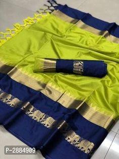 Beautiful Cotton Silk Saree with Blouse piece Cotton Blouses, Cotton Saree, Cotton Silk, Chiffon Saree, Saree Dress, Lehenga Blouse, Floral Chiffon, Mysore Silk Saree, Banarasi Sarees