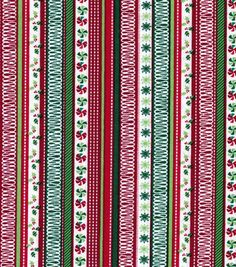 Holiday Inspirations Fabric-Holly Stripes