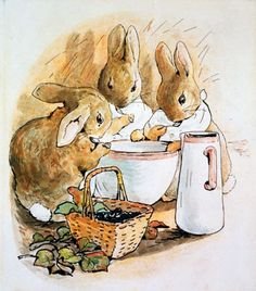 """""""Flopsy, Mopsy, and Cotton-tail had bread and milk and blackberries for supper."""""""
