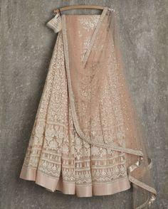 SwatiManish Lehengas SMF LEH 153 17 Khaki rose lehenga and dupatta with threadwork blouse Indian Wedding Outfits, Bridal Outfits, Indian Outfits, Indian Clothes, Indian Lehenga, Lehenga Designs, Dress Indian Style, Indian Dresses, Indian Attire