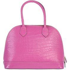 Manifatture Campane Handbag ($84) ❤ liked on Polyvore featuring bags, handbags, light purple, pink satchel handbags, satchel purse, leather purse, crocodile leather handbags and real leather handbags