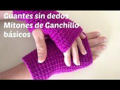Mitones tejidos a crochet en punto cocodrilo o escamas - YouTube