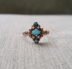 Antique Engagement Ring Seed Pearl Turquoise Rose Gold 10K 1800s Victorian Art deco Flower Bohemian Estate January Birthstone Size 6.25