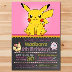 Pokemon Birthday Invite Pink Chalkboard by HydrangeaEtchings