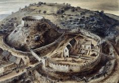 Totnes Castle was first built as a motte and bailey castle by Judhael of Brittany shortly after the Norman Conquest in 1066 AD. It is situated on high ground in close proximity to the River Dart and overlooks Totnes town, which dates back to Saxon times.