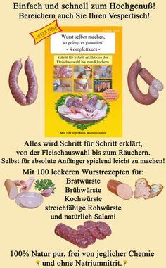 Wurst und Schinken räuchern Anleitung Das Kalträuchern, hat beim Schinken und Wurst selber machen, eine große Bedeutung. Früher war das Kalträuchern, eine der wenigen Möglichkeiten, die Haltbarkeit von Wurst und Schinken zu verlängern. Heute wird vor allem wegen des besonderen und herzhaften Geschmacks und der Farbe geräuchert. Was kann man alles räuchern: Wurst Schinken Speck Fisch Käse Fleisch  Es gibt es zwei Arten zum