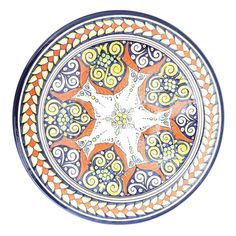 Bring your home to life with a beautiful ceramic dinner plate that is handpainted in multiple colors like Orange, Yellow, Navy, and Green. Ceramic Plates, Ceramic Pottery, Large Plates, Decorative Plates, Moroccan Plates, Navy And Green, Arabesque, Serving Dishes, Botanical Prints
