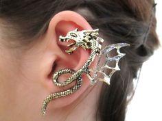 Wing Dragon Ear Cuff  Black or glitter dragon by StylesBiju, $16.90