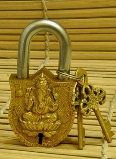 Dhokra Metal Casting Art, Curios, Home Decor, Indiacraft, Indiacraft, Dhokra Metal Brass Lock & Key -Ganesh (H-4.5
