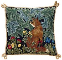 Medieval Fox Embroidered Cushion  Tapestry Kit  Morris and Sons