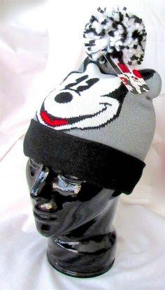 Details about NEW MICKEY MOUSE DISNEY Knit Ski Hat GRAY BLACK SWEATER  POMPOM BEANIE Women Men 79023026b0fa