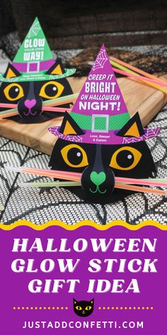 This Halloween glow stick gift idea is so cute and easy to make. All you need are glow sticks and my black cat printable. This would be a perfect Halloween party favor, classroom treat or handout at your kid's school! Glow sticks are a great Halloween gift idea. Keep all little trick-or-treaters safe and visible in the dark. The black cat printable tags are available in my Just Add Confetti Etsy shop. Also, head to justaddconfetti.com for even more Halloween gift ideas and party inspiration!