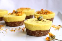 Mango and Turmeric Raw Cupcakes Recipe. Delicious grain-free, vegan cupcakes made with almonds, sunflower seeds, dates, mango, turmeric, ginger and coconut.