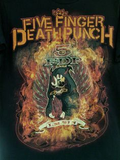 T-SHIRT-BLACK-MEDIUM-FIVE-FINGER-DEATH-PUNCH-HEAVY-METAL-BAND-5-FDP-I-M-SIN