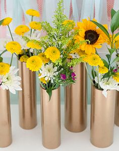 Make inexpensive centerpiece vases from PVC pipe. Step by step tutorial.