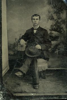 Tintype Photo of Man Setting in Chair Hat on Knee | eBay