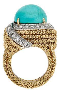 54337: Turquoise, Diamond, Gold Ring, David Webb The r : Lot 54337
