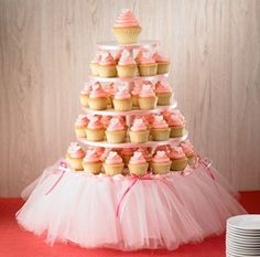 Good Way to dress up a cupcake stand….girl baby shower Or princess/ballerina birthday party… this could be cute even without cupcakes. …could even serve veggies or anything else on the platters. Maybe one on a stand like this, one for the punch bowl, etc Ballerina Birthday, Princess Birthday, Girl Birthday, Ballerina Tutu, Princess Theme, Princess Tutu, Birthday Tutu, Tutu Cupcakes, Cupcake Cakes