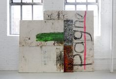 Oscar Murillo - untitled (stack paintings), 2012, spray paint, oil, oil stick, dirt on canvas, in 3 parts