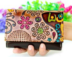 Wallet Embossed Leather Wallet Bridesmaid Gift Womens by Artycult