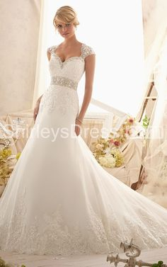 princess style Classic Elaborately Crystal-beaded and Lace-appliqued Net Train Wedding Gown